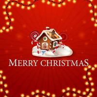 Merry Christmas, square red postcard in minimalism style with garland and Christmas gingerbread house with whipped cream and candy
