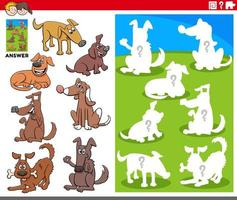 matching shapes game with cartoon dog characters