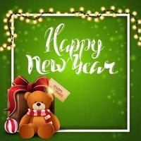 Happy New Year, square green postcard with white frame, garland and present with Teddy bear