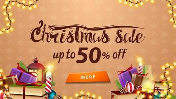 Christmas sale, up to 50 off, beige discount banner with garland, button and many presents