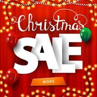 Christmas sale, square red discount banner with large volumetric letters, curtain on the background, garlands, balloons and button