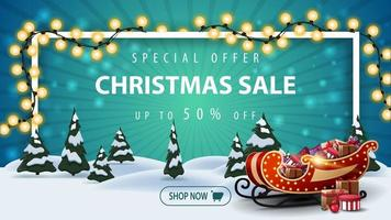 Special offer, Christmas sale, up to 50 off, beautiful discount banner with cartoon winter landscape with pines and Santa Sleigh with presents
