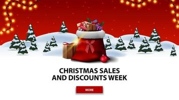 Christmas sales and discount week, red discount banner with cartoon winter forest with spruces, red starry sky, button, garland and Santa Claus bag with presents