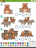 maths addition educational task with wild animals