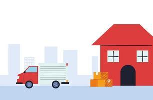cajas de envío de camiones de carga desde el almacén vector