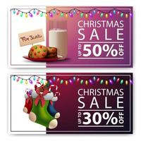 Two Christmas discount banners with cookies with a glass of milk for Santa Claus and Christmas stockings