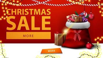 Christmas sale. Horizontal discount banner with Santa Claus bag with presents near the red wall