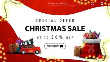 Special offer, Christmas sale, up to 50 off, red and white discount banner with smooth lines, red vintage car carrying Christmas tree and Santa Claus bag with presents