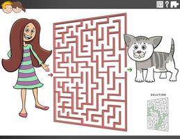 maze game with cartoon teen girl and kitten