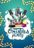 Christmas party, blue poster with guitars, microphone, Christmas presents, garland and abstract white cloud