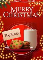 Red Christmas postcard with garland and cookies with a glass of milk for Santa Claus