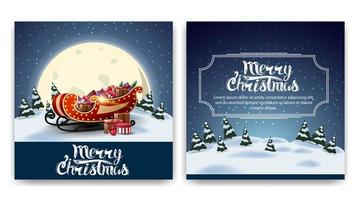 Christmas square two-sided postcard with cartoon winter landscape, big yellow moon and Santa Sleigh with presents
