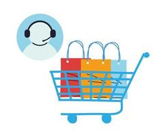 virtual store with call center vector illustration