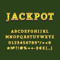 jackpot encabezado vintage 3d vector alfabeto conjunto