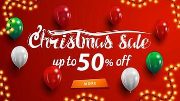 Christmas sale, up to 50 off, red discount banner with garland, button and balloons near wall