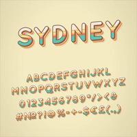 conjunto de alfabeto de vector 3d vintage de sydney