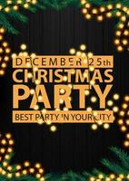 Christmas party, best party in your city, black poster with gold letters, wooden background, Christmas tree branches and garland