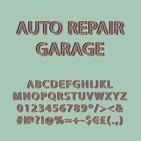 reparación de automóviles, garaje, vendimia, 3d, vector, alfabeto, conjunto vector