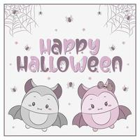happy Halloween cute bats drawing with spiders and web vector