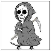 happy Halloween scary and spooky reaper drawing vector