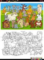 cartoon funny dogs and cats group coloring book page