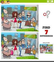 differences educational task with cartoon people group