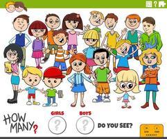 cuántas niñas y niños tarea educativa vector