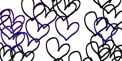 Light Pink vector pattern with colorful hearts.
