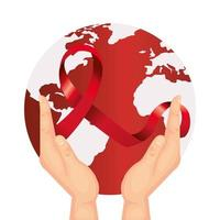 hands with aids day awareness ribbon and planet earth