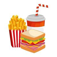 delicious sandwich with french fries and drink food isolated icon vector