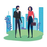 business couple calling with cellphone in the park vector