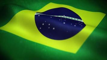 drapeau brésilien agitant une boucle de fond texturé video
