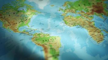 bandeira do mapa mundial acenando com fundo texturizado loop