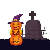halloween pumpkins with hat witch and tomb vector