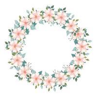 Marco circular de flores y hojas icono aislado vector