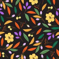 Seamless pattern with floral concept in the black backdrop vector