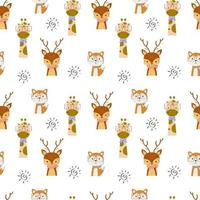 Seamless Pattern with cute animals in the white backdrop vector