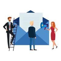 Envelope men and woman vector design