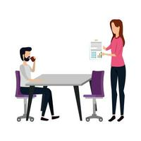 elegant business couple working in the office vector