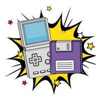disquete con mango de videojuego de los noventa en explosión pop art vector