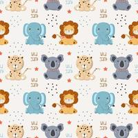 Seamless Pattern with baby wild animals in the white backdrop vector