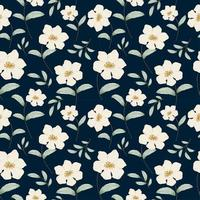 Seamless pattern with flowers concept in the dark blue backdrop vector