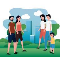 grupo de padres con hijo pequeño en los personajes del parque
