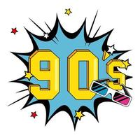 nineties sign with glasses in explosion pop art