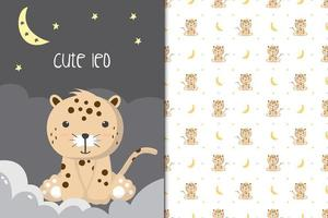 Cute leopard illustration with seamless pattern in the white backdrop vector
