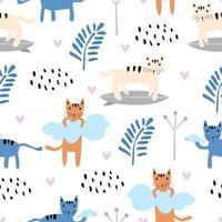 patrón sin fisuras con lindos gatitos coloridos gato. textura infantil creativa. ideal para tela, ilustración vectorial textil. vector