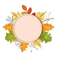 marco circular con hojas de otoño vector