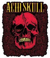 acid grunge skull vector