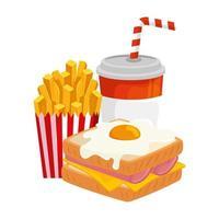 Delicioso sándwich con huevo frito y bebida icono aislado vector