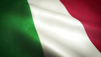 italienische Flagge, die strukturierte Hintergrundschleife schwenkt video
